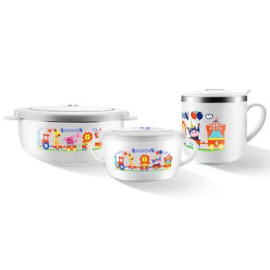 英國貝兒欣兒童保溫碗餐具套裝 嬰兒寶寶輔食碗防摔家用可愛卡通