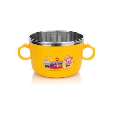 【韓國】RAON雙柄寶寶防滑碗不銹鋼寶寶餐具寶寶碗(高款)黃色