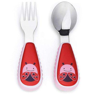 美國Skip Hop防滑防燙不銹鋼兒童叉勺套裝 瓢蟲款(2件套)