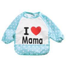 安茁 寶寶吃飯罩衣嬰兒圍兜 兒童防水反穿衣 立體超軟食飯兜防濺反穿衣 Ilovemama
