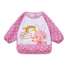 安茁 寶寶吃飯罩衣嬰兒圍兜 兒童防水反穿衣 立體超軟食飯兜防濺反穿衣 粉紅兔子