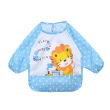 安茁 寶寶吃飯罩衣嬰兒圍兜 兒童防水反穿衣 立體超軟食飯兜防濺反穿衣 藍色獅子