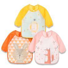 安茁(女款三件装)宝宝吃饭罩衣婴儿围兜 儿童防水反穿衣 超软食饭兜防溅耐脏长袖饭衣