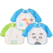 安茁 (男款三件装)宝宝吃饭罩衣婴儿围兜 儿童防水反穿衣 超软食饭兜防溅耐脏长袖饭衣