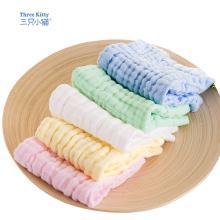 三只小猫毛巾5条装婴儿纱布口水巾宝宝纯棉小方巾新生儿脸巾手帕