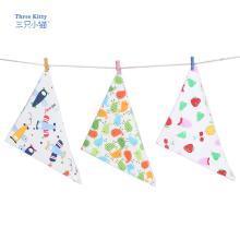 三只小貓口水巾 純棉三角巾新生兒寶寶圍嘴三角兒童口水巾