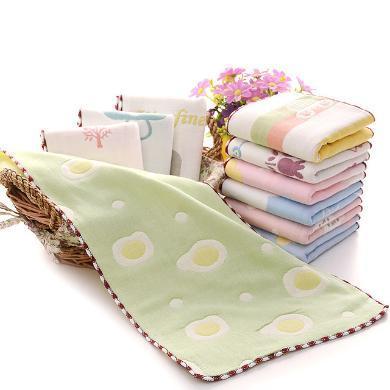 三只小貓 裝純棉六層紗布兒童毛巾寶寶嬰兒洗臉紗布小毛巾手帕五件裝   ksjwd08