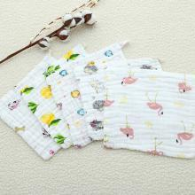三只小猫 六层纱布口水巾全棉方巾新生婴儿宝宝洗脸擦手毛巾儿童卡通印花 ksjwd06