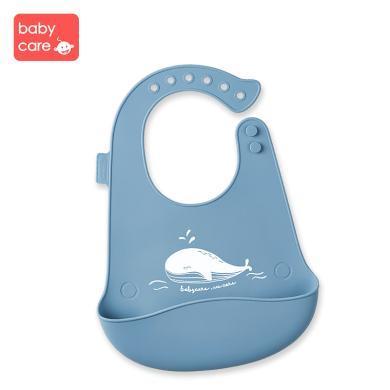 babycare寶寶吃飯圍兜 嬰幼兒硅膠圍嘴小孩防水兒童飯兜超軟大號2106