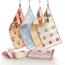 三只小貓 25*50純棉6六層紗布童巾卡通提花毛巾兒童寶寶洗臉小毛巾日用 ksjwd03