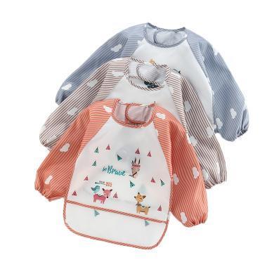 安茁 寶寶吃飯罩衣嬰兒圍兜 兒童防水反穿衣 立體超軟食飯兜防濺反穿衣 三件裝