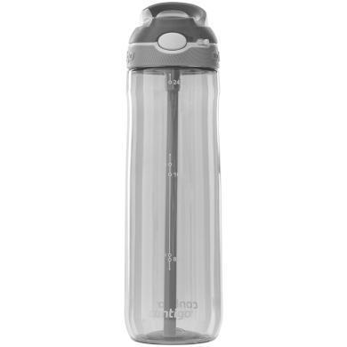 美國康迪克(contigo)水杯吸管杯大容量便攜鎖扣運動吸管杯灰色750ml