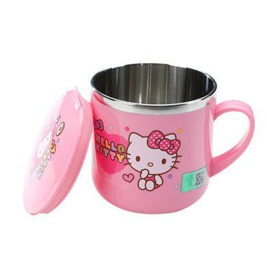 兒童凱蒂貓手柄杯喝水杯牛奶杯304不銹鋼寶寶果汁杯漱口杯KT帶蓋