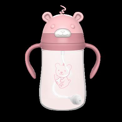 小壮熊吸管杯学饮杯儿童宝宝水杯婴儿学饮防呛?#20154;?#26479;子带吸管 320ml