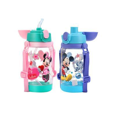 迪士尼兒童吸管杯防摔幼兒園背帶夏季水杯小學生雙蓋兩用水壺