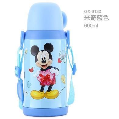 迪士尼兒童保溫杯便攜米奇學生背帶大容量不銹鋼保溫壺防漏寶寶兒童水杯600ml