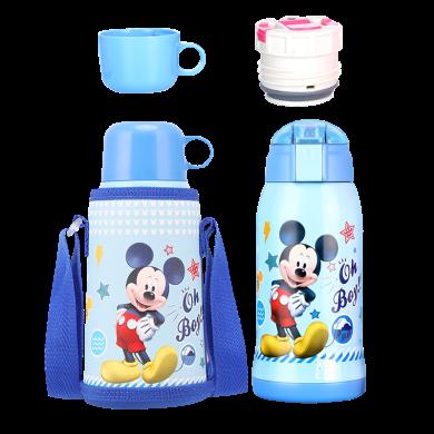 迪士尼儿童保温杯带吸管宝宝水壶不锈钢杯子幼儿园宝宝两用防摔水杯带杯套600毫升保温杯