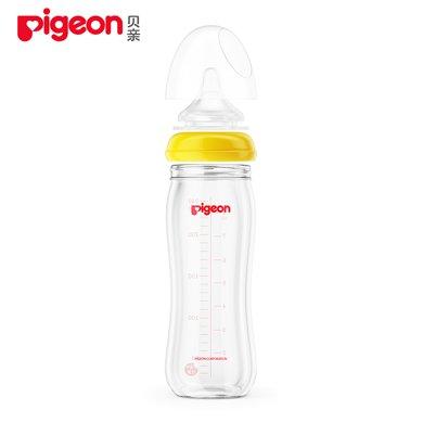 贝亲玻璃奶瓶 宽口径 240ml 带L号奶嘴 黄色  AA92