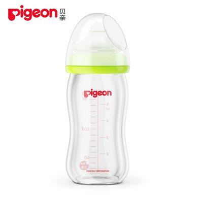 贝亲宽口径玻璃奶瓶 绿色 160ml配SS号奶嘴 AA72
