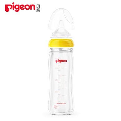 贝亲宽口径玻璃奶瓶 黄色 240ml 配M号奶嘴 AA71