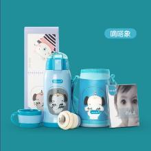 美国dexbaby宝宝保温吸管杯两用婴儿学饮杯儿童保温水壶背带防摔漏保温壶