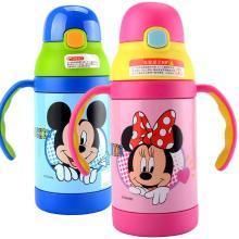 迪士尼兒童保溫杯帶吸管兩用幼兒園寶寶水杯水壺便攜手柄杯子防摔300毫升