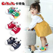 卡特兔新生婴儿春季帆布鞋春季男女宝宝0-6月学前鞋软底步前鞋
