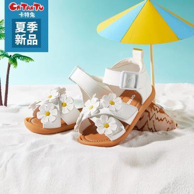 卡特兔涼鞋女童2019新款涼鞋女夏季時尚1-3歲女童鞋5小花公主軟底