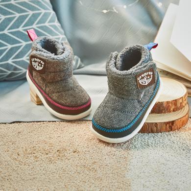 卡特兔男童2019冬季新款羊皮毛一體雪地靴兒童寶寶學步保暖小棉靴