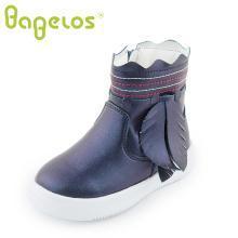 巴贝乐babelos童鞋冬季新款长毛绒棉靴中小童树叶装饰珍珠色加绒短靴加厚软底2-6岁B41720103