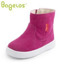 巴贝乐babelos童鞋冬季新款短毛绒棉靴中小童反绒皮加绒短靴加厚轻便2 3 4 5 6岁B41722106