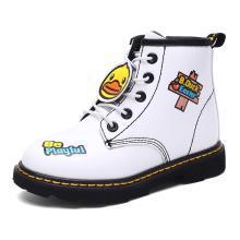 B.Duck小黄鸭儿童靴子男童女童鞋冬小孩马丁皮靴休闲鞋保暖雪地靴
