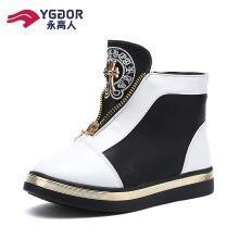 永高人童鞋女童靴子皮加绒冬季时尚短靴冬季保暖儿童靴子