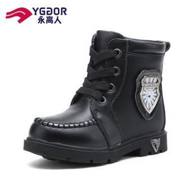 永高人童鞋秋冬男童馬丁靴新款女童時尚中筒靴加絨皮短靴