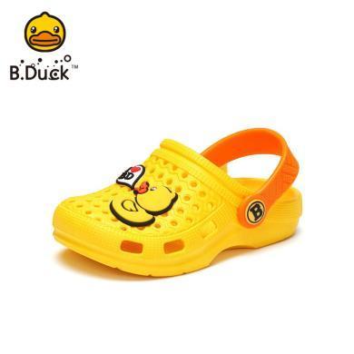 B.Duck小黃鴨兒童洞洞鞋夏女童寶寶包頭防滑涼拖鞋小孩休閑沙灘鞋B2075926