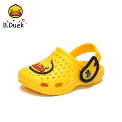 B.Duck小黃鴨兒童洞洞鞋夏男童寶寶包頭防滑涼拖鞋小孩休閑沙灘鞋B2075925