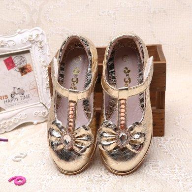 小叮當女童皮鞋春秋夏新款紫粉公主鞋單鞋韓版兒童學生小高跟DC60713