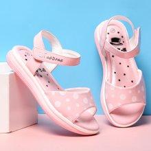 小叮当女童凉鞋春夏款韩版公主鞋儿童平底黑白圆点学生潮鞋子DB70306/506