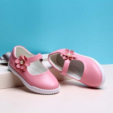 小叮当女童皮鞋春季新款韩版简约公主单鞋?#34892;?#31461;软底演出鞋潮DA72007/DA71007