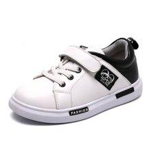 小叮当儿童休闲板鞋秋季新款男童运动鞋女童黑白休闲鞋学生鞋DM732231
