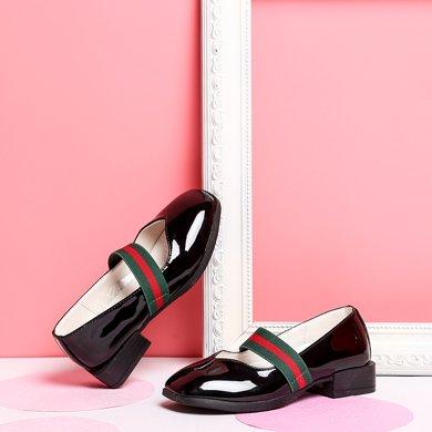 小叮當女童單鞋2018春季新款韓版簡約純色公主皮鞋中小童學生單鞋DA80606