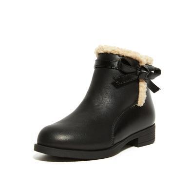 【滿99減20 199減50】斯納菲童鞋女童靴子公主短靴頭層牛皮時裝短靴馬丁靴18909