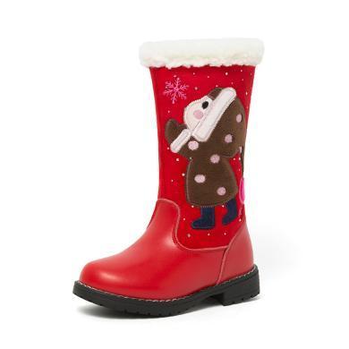 【滿99減20 199減50】斯納菲女童靴子牛皮公主長靴加絨高筒靴寶寶兒童棉靴18939
