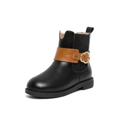 斯納菲女童靴子冬季短靴韓版兒童公主馬丁靴小女孩時尚棉靴18941