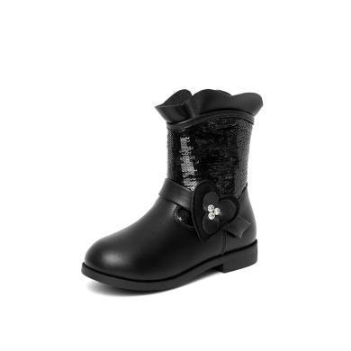 斯納菲童鞋女童靴子 公主短靴花邊亮片加絨兒童棉靴18919
