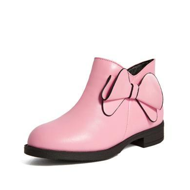 斯納菲童鞋女童靴子 及裸靴 牛皮公主棉靴 兒童靴子18904