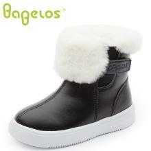 巴贝乐babelos童鞋冬季新款短毛绒棉靴中小童长毛绒翻毛装饰加绒短靴加厚软底2-6岁B41720105