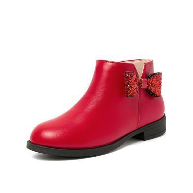 【满99减20 199减50】斯纳菲童鞋女童靴子单靴公主短靴牛皮宝宝儿童马丁靴18824