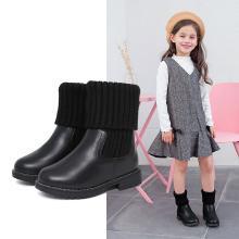 斯纳菲童鞋女童靴子冬季新款牛皮短靴加绒鞋子儿童雪地靴子马丁靴 17977