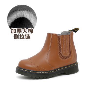 斯納菲童鞋冬季雪地靴 女童長毛絨短靴側拉鏈保暖馬丁靴寶寶韓版靴17936